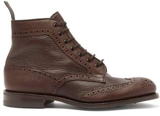 Tricker's Adstone Grained Leather Brogue Boots - Mens - Brown