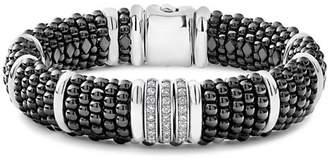 Lagos Sterling Silver Black Caviar Pavé Diamond & Black Ceramic Statement Bracelet