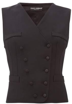 Dolce & Gabbana Double Breasted Wool Blend Twill Waistcoat - Womens - Black