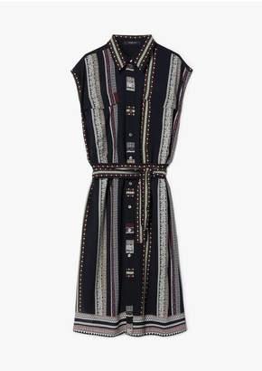 Derek Lam Belted Provincal Striped Sleeveless Button-Down Shirt Dress