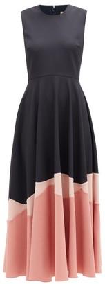 Roksanda Alesi Hem-panel Crepe Midi Dress - Womens - Navy Multi