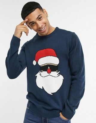 ONLY & SONS Christmas sweater with santa in navy