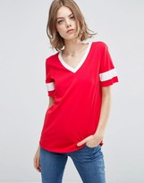 Asos Longline T-Shirt With V-Neck And Contrast Stripe