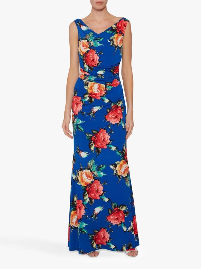 Gina Bacconi Valdine Floral Maxi Dress, Royal Blue/Multi