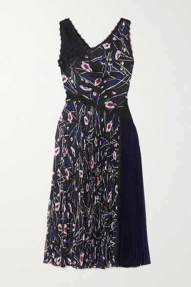 Thumbnail for your product : Jason Wu Collection Paneled Floral-print Chiffon, Crepe And Lace Midi Dress - Black