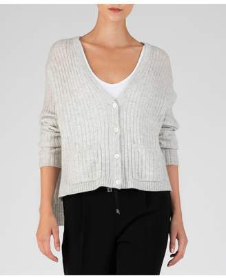ATM Anthony Thomas Melillo Cashmere Deep V-Neck Cardigan - Alabaster