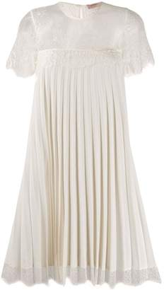 Twin-Set pleated lace-panel dress
