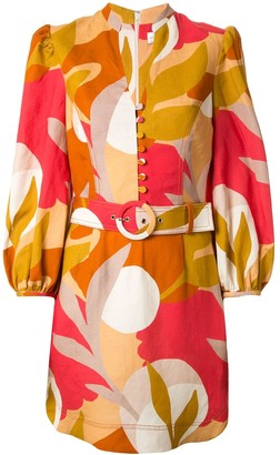 Rebecca Vallance Sangria abstract-print belted dress