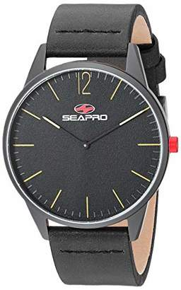 Seapro Men's Hole Stainless Steel Quartz Leather Calfskin Strap