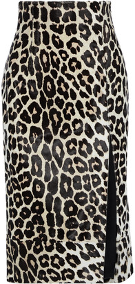 16Arlington Lipton Leopard-print Calf Hair Midi Skirt