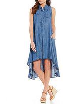 Chelsea & Theodore Hi Low Tencel Shirt Dress