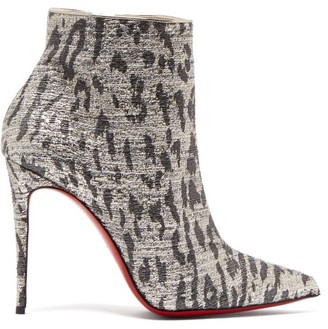 Christian Louboutin So Kate 100 Leopard-print Ankle Boots - Silver
