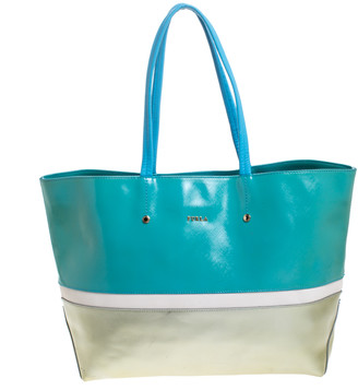 Furla Bicolor Patent Leather and Leather Tote