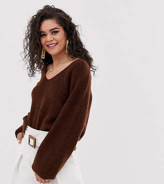 Asos Tall DESIGN Tall fluffy v neck ribbed jumper with balloon sleeve in recycled blend-Brown