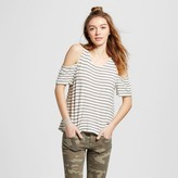 Mossimo Women's Knit Cold Shoulder Tank Striped