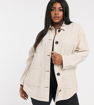 Asos DESIGN Curve linen jacket with contrast stitch detail in stone