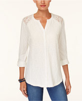 Style&Co. Style & Co Lace-Panel Knit Shirt, Created for Macy's
