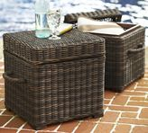 Pottery Barn Torrey All-Weather Wicker Accent Cube - Espresso