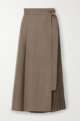 LVIR Pleated Wrap Wool Midi Skirt - Brown