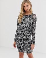 Ichi leopard ruched mini dress