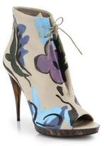 Burberry Hand-Painted Leather Peep-Toe Booties