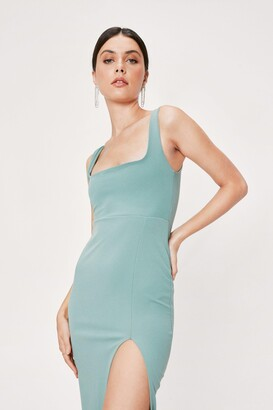 Nasty Gal Womens Square Neck Split Front Maxi Dress - Green - 12