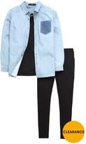 Very Girls Denim Shirt, Vest And Leggings Set