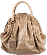Valentino Crocodile Pleated Satchel