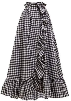 Thierry Colson Tasha Gingham Cotton Midi Wrap Skirt - Womens - Black Multi