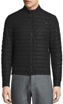 Moncler Casteu Quilted Leather Moto Jacket, Black