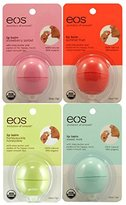 EOS Organic Smooth Sphere Lip Balm - Summer Fruit, Sweet Mint, Strawberry Sorbet, Honeysuckle Honeydew (4 Pack)