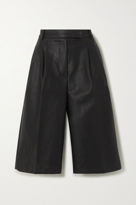 Frankie Shop - Pernille Pleated Faux Leather Shorts - Black