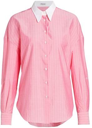 Brunello Cucinelli Monili-Tab Collared Shirt