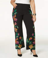 INC International Concepts I.N.C. Plus Size Floral-Print Wide-Leg Pants, Created for Macy's