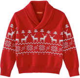 Joe Fresh Toddler Boys' Print Shawl Collar Sweater, Bright Red (Size 5)