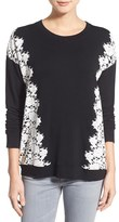 Kensie Women's Lace Applique Crewneck Sweatshirt