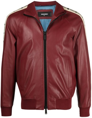 DSQUARED2 Retro Tape zip-up leather bomber jacket