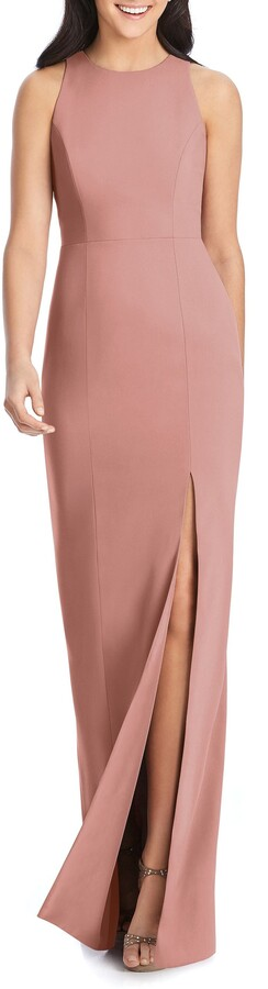 Dessy Collection Crepe Column Gown