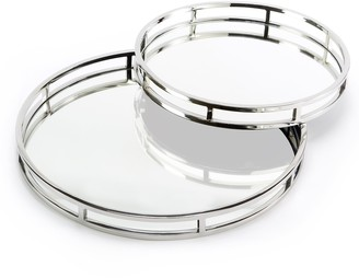 Set of 2 Round Mirrored Gallery Trays