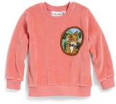 Mini Rodini Infant Girl's Fox Patch Velour Sweatshirt