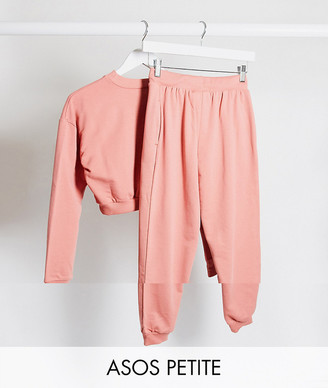 ASOS DESIGN Petite tracksuit cropped sweat / slim jogger with tie in organic cotton in dusty rose
