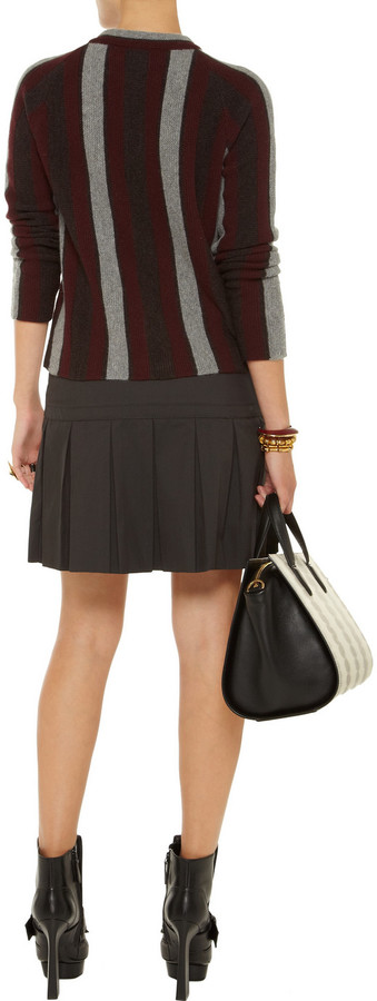 Marni Pleated cotton-blend twill skirt
