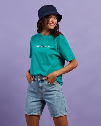 Tommy Jeans Women's Green Basic T-Shirts - Modern Linear Logo Tee - Size XS at The Iconic