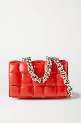 Bottega Veneta Cassette Chain-embellished Padded Intrecciato Leather Shoulder Bag - Red
