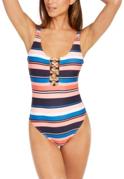 Michael Kors Michael Striped Chain-Ring One-Piece Swimsuit Women's Swimsuit