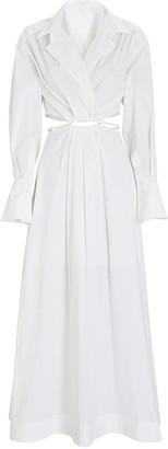 Jonathan Simkhai Alex Cut-Out Poplin Shirt Dress
