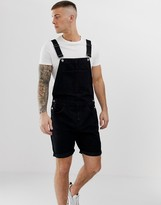 Asos Design DESIGN denim overall shorts in black