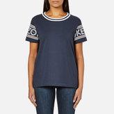 Kenzo Women's Strip Logo Sleeve TShirt - Midnight Blue