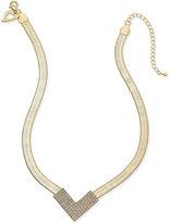 Thalia Sodi Gold-Tone Pavé Crystal V Collar Necklace, Only at Macy's