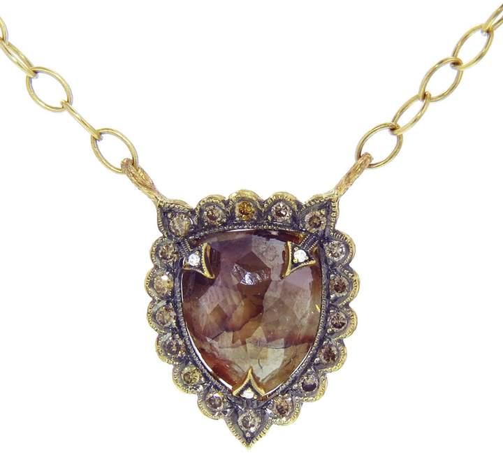 Cathy Waterman Rustic Diamond Shield Necklace - 22 Karat Gold
